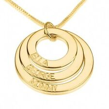 Gold Plated Mother Necklace 3 Disc Engraved Mom Family Pendant - oNecklace ®