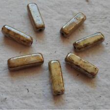TCHÈQUE PERLES DE VERRE ~ 20 x 15 mm crème Mottle Stick Beads