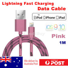 iPhone 8 7 6s 5 Plus USB to Lightning Data Fast Charger Cable Braided Pink iOS10