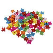 100x Wooden Flower Shape Beads Jewelry Making Charms Loose Spacer Beads 13mm