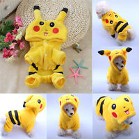 Cat Puppy Pet Clothes Dog Pikachu Yellow Sweater Hoodie Coat Apparel Costume