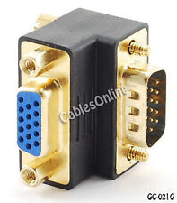 VGA (HD15 Pin) 90-Degree Male to Female Video Adapter, Gold Plated - GC-021G