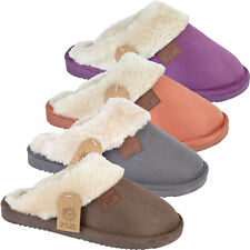 LADIES FLEECE LINED SLIPPERS HARD SOLE MULES WINTER WARM BEDROOM SLIP ON SHOES
