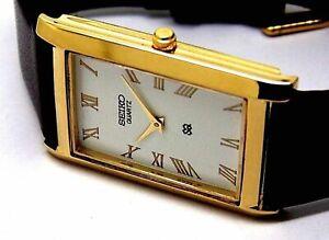 seiko quartz men gold plated super slim white dial japan made watch run order