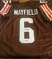 AUTOGRAPHED BAKER MAYFIELD CLEVELAND BROWNS HOME CUSTOM XL JERSEY WITH COA!