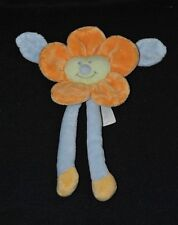 Peluche doudou fleur orange JOLLYBABY AUBERT bleu jaune grelot 20 cm TTBE
