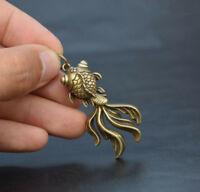 Chinese collection archaize brass goldfish small pendant