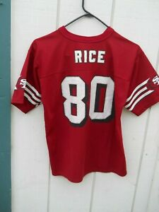 SAN FRANCISCO 49ers JERRY RICE  # 80 FOOTBALL JERSEY SIZE YOUTH LARGE (14-16)