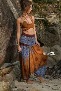 Harem Pants Bronze Blue Hippie Mandala Print Comfy Yoga Festival Boho Gypsy