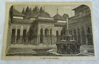 1882 magazine engraving ~ COURT IN THE ALHAMBRA Spain