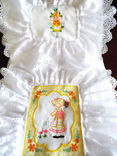 DOLLS SILVER CROSS  PRAM OR  BED - EMBROIDERY, PADDED BEDDING SET