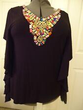 Urban Apparel jewel-trimmed black knit top, flutter sleeves,  large