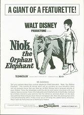 Walt Disney's Niok, the Orphan Elephant (1970) pressbook