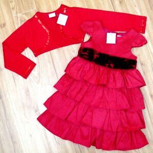 BNWT GIRLS NEXT RED PARTY DRESS & CROP CARDIGAN 3-4 YRS NEW TOP COAT WEDDING HOL