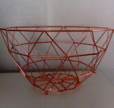 Copper Rose Gold Wire Geometric Decorative Fruit Bowl Kitchen Basket 30cm NEW