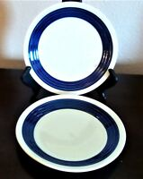 Gibson Everyday Living Circles Blue Salad Plates Embossed Rings x2