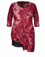 Autograph SAMYA claret Red Tie DYE long tunic / DRESS size 18 NEW 3/4 sleeve