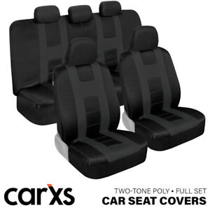 Car Seat Covers Front & Rear Bench Full Set for Auto Truck SUV Charcoal Gray