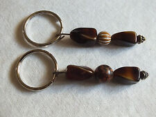 Collectible Beautiful Key Chain Set of 2 Brown Glass Beads NICE