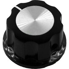 Medium Black Knob with Silver Insert and Indicator for Pedals, Guitars, Amps