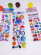 3pcs kids Bicycle Motor Vehicles Bubble stickers - kids school stickers lot