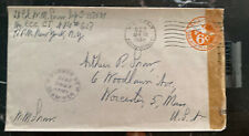 1945 US Army PO In Kukmin China Censored Cover to Worcester Ma USA