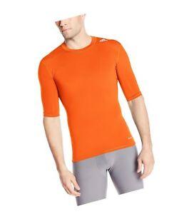 NEW adidas Men COMPRESSION ClimaliteTechfit UPF50+ Shirt Tee ORANGE M L XL 2XL