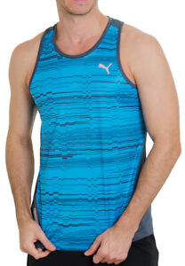Puma Power Cool Mens Running Singlet Blue Graphic Sports Vest Gym Training Tank