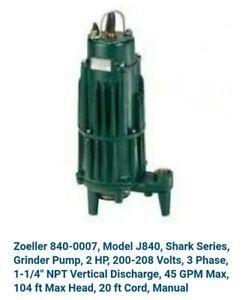 Zoeller 840-0007, Model J840, Shark Series, Grinder Pump, 2 HP, 200-208 Volts