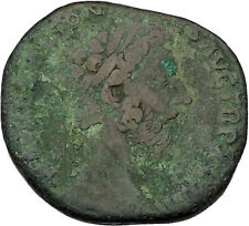 MARCUS AURELIUS 165AD Sestertius Big Ancient Roman Coin Good luck Cult i46105