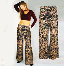 95e0cf685a90 LADIES PRINTED WIDE LEG PALAZZO PANTS TROUSERS ANIMAL LEOPARD PRINT TAN 8 -  20
