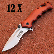 12 Pc Tactical Rescue Spring Assisted Open Wood Handle Pocket Knife - Aj502