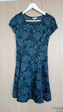 New Look Floral Dress Roses Print Black Skater Tea Dress Glitter Size 10