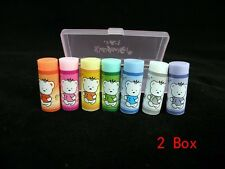 Box of 7 Cylindrical Erasers 7 Colors Lovely Bear Eraser (2 Box)