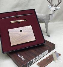 NOS Sheaffer White Dot Pen Desk Set Vintage Ballpoint W05 Solid Walnut