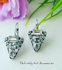 Stunning white crystal triangle geometric bling cocktail statement hook earrings