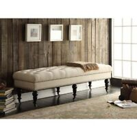 King Bed Bench End of Bedroom Upholstered Nailhead Entryway Seat Wood Foot Ivory