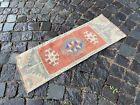 Vintage Turkish small rug, Handmade wool rug, Doormats, Decor rug   1,0 x 2,9 ft