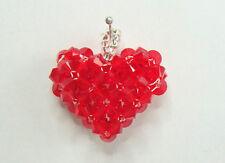 Damen Anhänger 3D Herz aus Swarovski Elements, Bicone, handmade