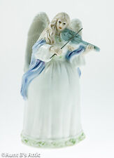 Angel Bell Collectible Glazed Porcelain Pastel Angel Bell Playing A Violin