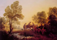 Oil painting thomas gainsborough - evening landscape peasants and mounted figure