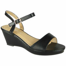 Womens Wedge Buckle Sandals Open Toe Ladies Summer Strap Heels Comfy Shoes Size