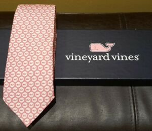 NEW $49 VINEYARD VINES BOYS SILK TIE - PINK WHALES - WITH BOX