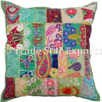 Vintage Patchwork Cushion Cover Hand Embroidered 18x18 Square Throw Pillow Case