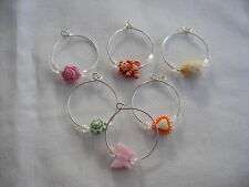 6 pastel beaded wine glass charm hoops rings party decorations handmade