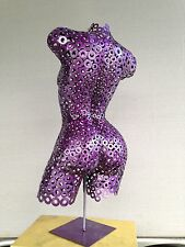 Metal Art Sculpture Free Standing Abstract Purple Torso by Holly Lentz