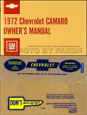 1972 Camaro Owners Manual with Envelope 72 RS SS Z28 Z 28 Chevy Owner Guide Book