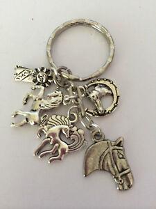 I LOVE HORSES  Key ring holder Tibetan Silver horses horseshoe ribbon 5 charms
