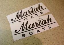 "Mariah Boat Decal Die-Cut 11"" BLACK 2-PAK FREE SHIP + FREE Fish Decal!"