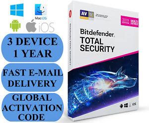 Bitdefender Total Security 3 DEVICE 1 YEAR + FREE VPN (200MB) GLOBAL CODE 2021